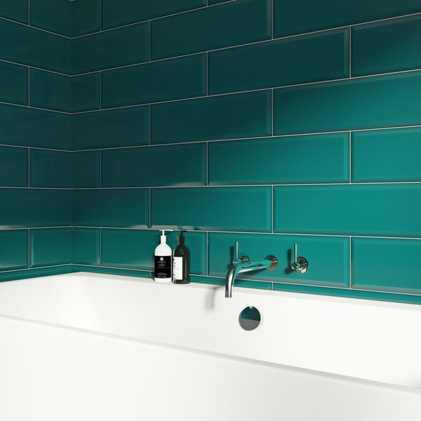 V&A Maxi Metro peacock gloss tile148mm x 498mm