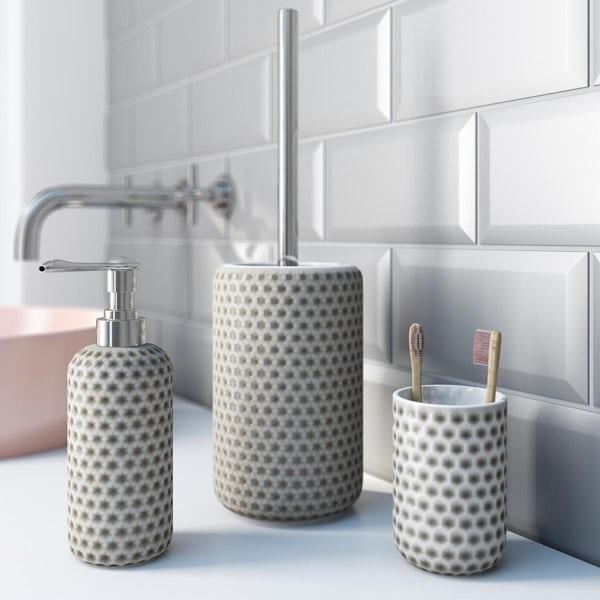Accents grey polka dot 3 piece bathroom setAccents Positano grey polka dot 3 piece bathroom set