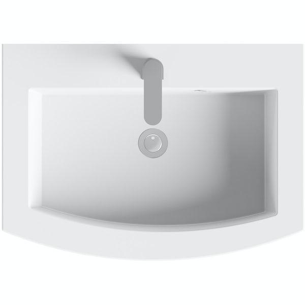 Mode Harrison slate gloss grey wall hung vanity unit and basin 600mm