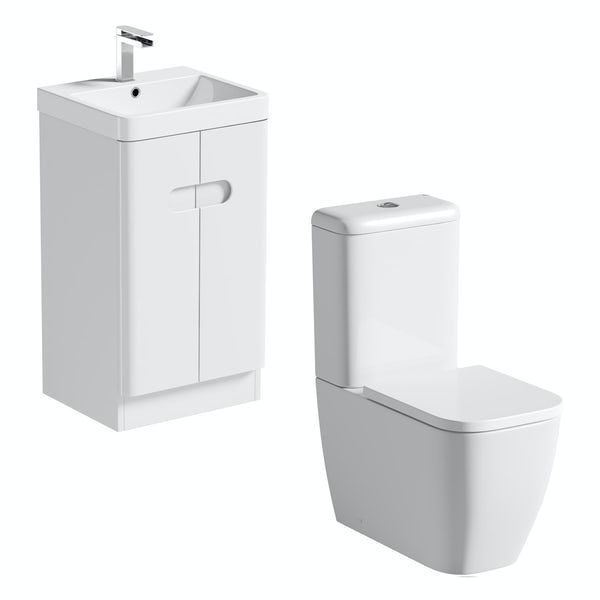 Mode Ellis white cloakroom suite with close coupled toilet