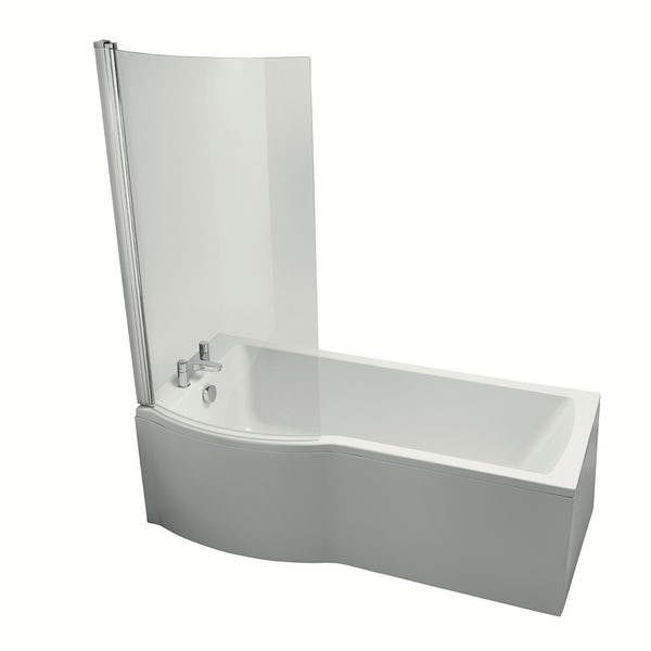 Ideal St Tempo Arc shower bath clear screen silver finish