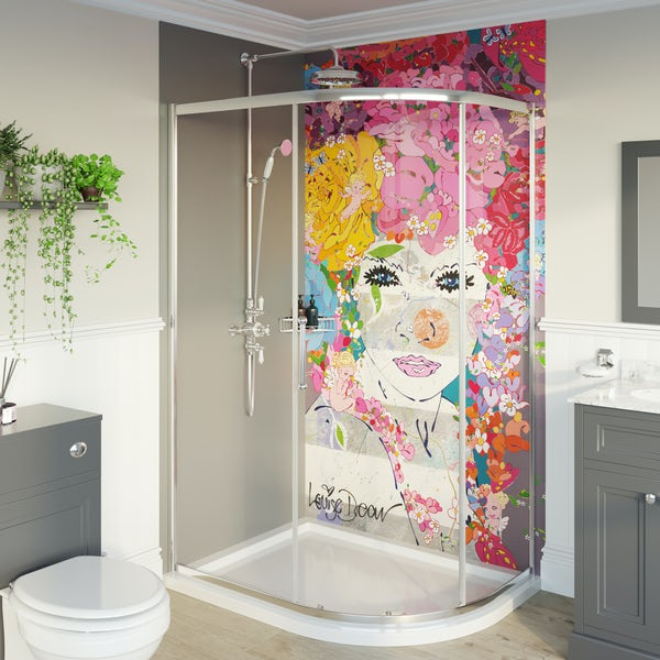 Louise Dear The Serenade Grey shower wall panel pack