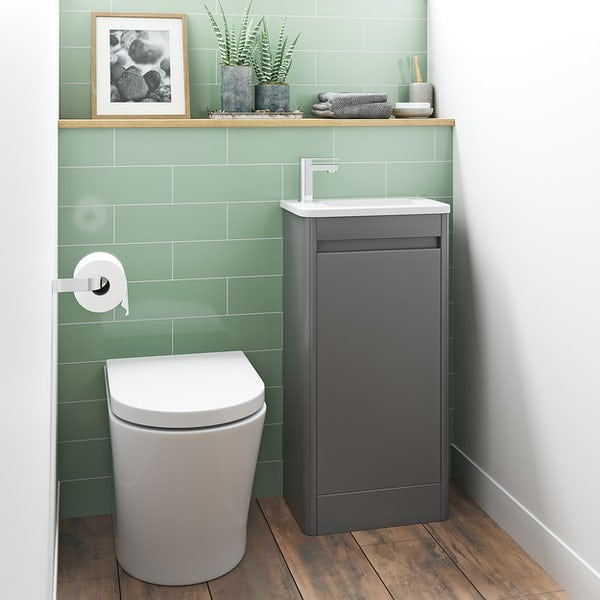 Mode De Gale grey cloakroom floorstanding vanity unit and left hand basin 410mm