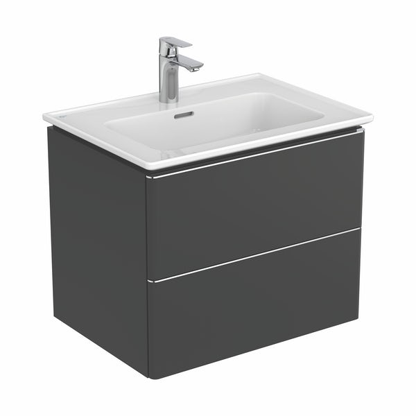 Ideal Standard Strada II anthracite grey wall hung vanity unit and basin 640mm