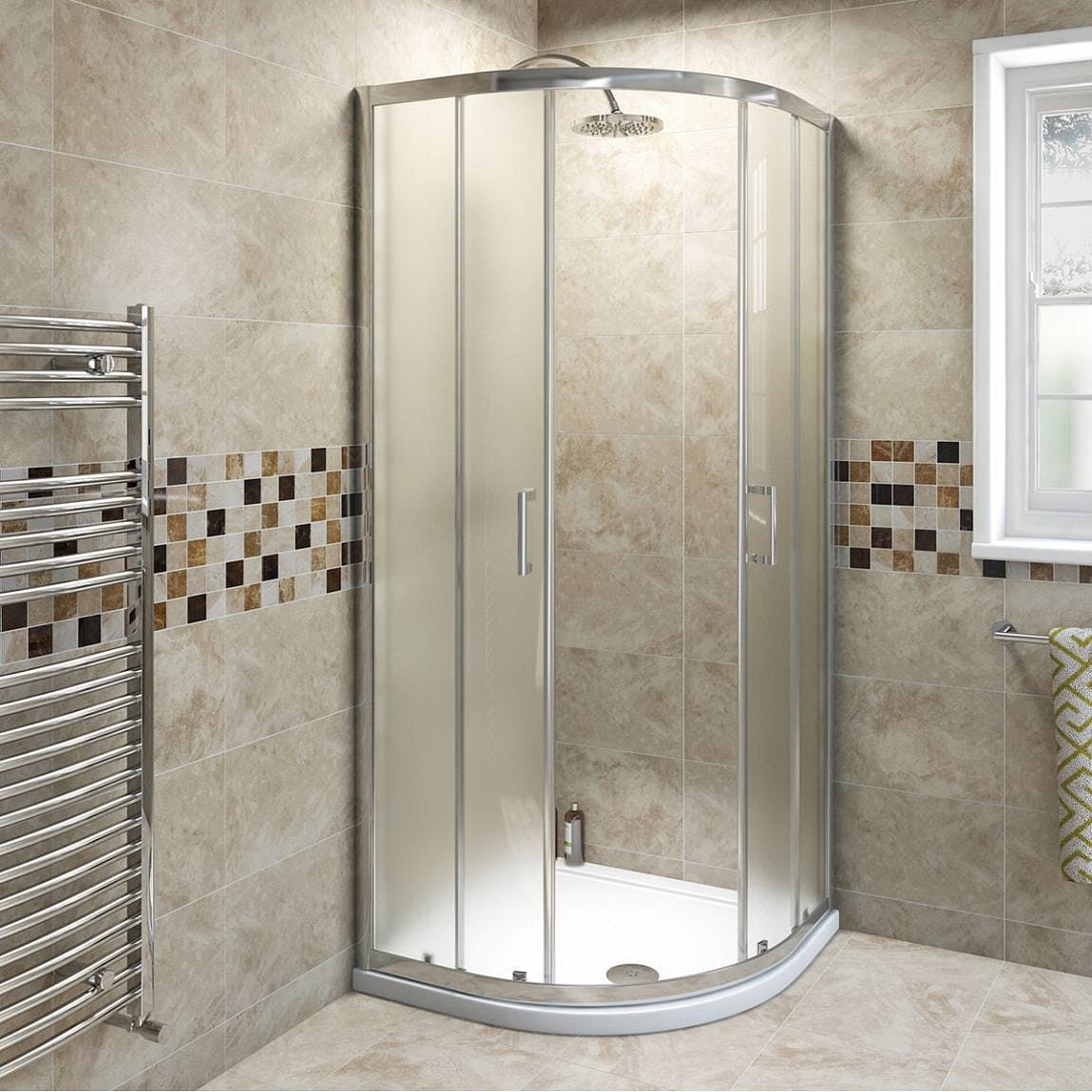 6mm Frosted Glass Sliding Quadrant Shower Enclosure 900 X 900