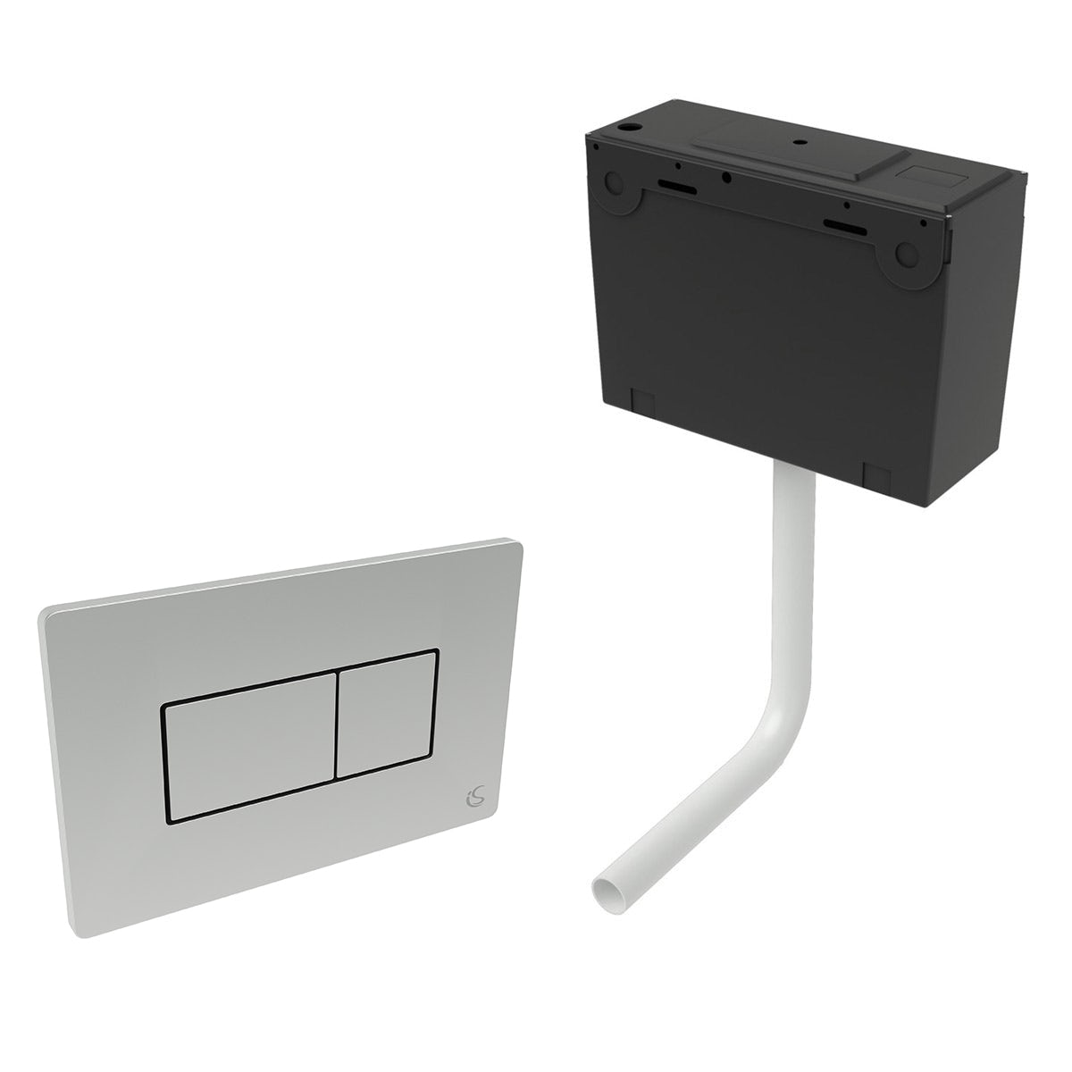 Ideal Standard concealed toilet cistern with top inlet and chrome flush plate