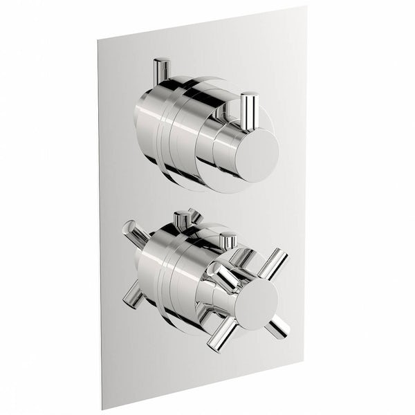 Mode Tate square twin thermostatic shower valve with diverter