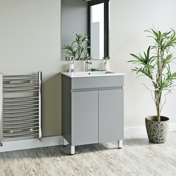 Orchard Thames satin grey floorstanding vanity unit and ceramic basin 600mm
