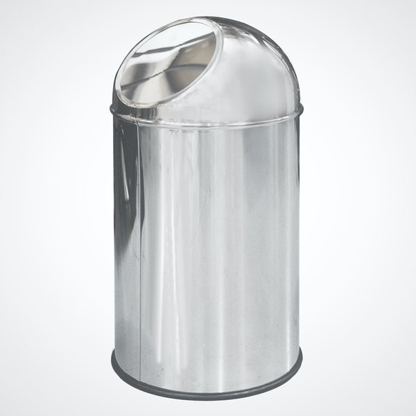 Dolphin commercial polished stainless steel trash can