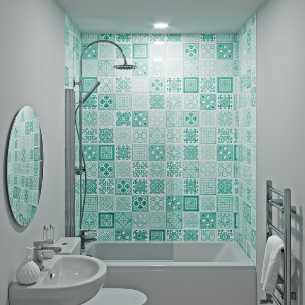 Showerwall Custom Victorian Turquoise acrylic shower wall panel