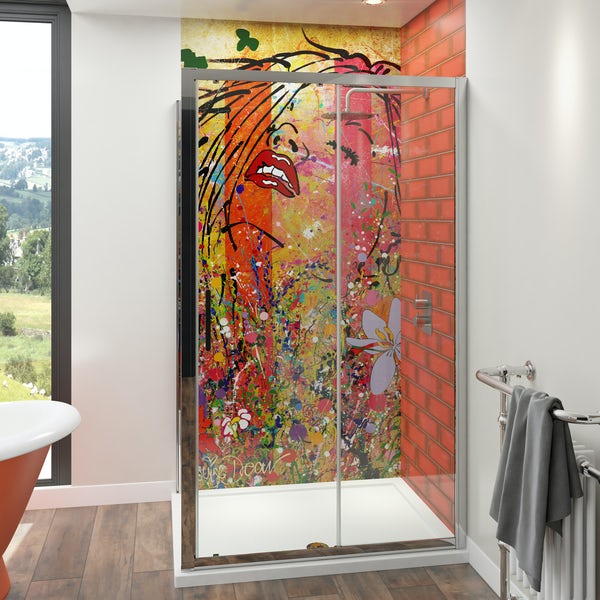 Louise Dear Yum Yum acrylic shower wall panel with 1200 x 800mm rectangular enclosure