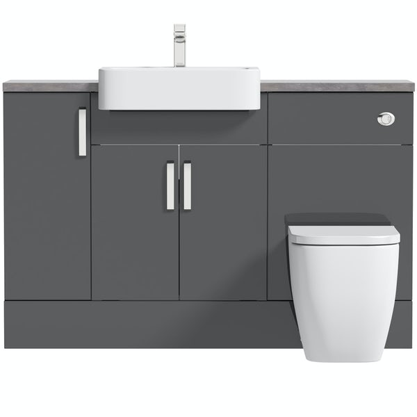 Mode Nouvel gloss grey small fitted furniture combination with mineral grey worktop