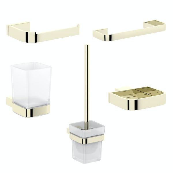 Mode Spencer gold ensuite 5 piece accessory set