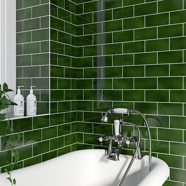 Va Puddle Glaze Racing Green Plain, Bathroom Tile Glaze