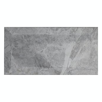 Metro subway silver marble bevelled gloss wall tile 100mm x 200mm