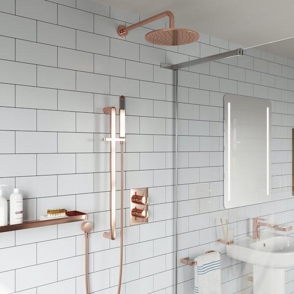 Mode Spencer round rose gold twin diverter valve shower set