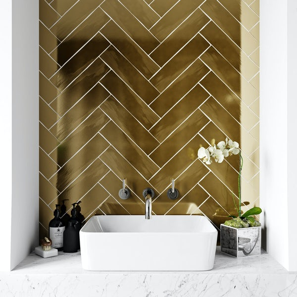 British Ceramic Tile Metallic gold wall tile 75mm x 300mm