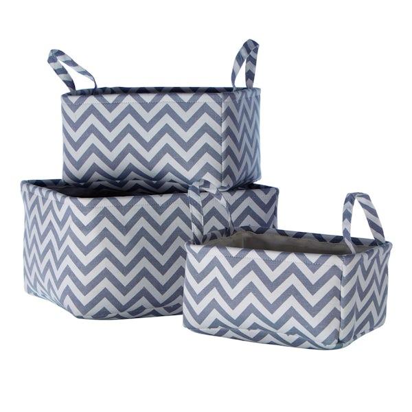 Set of 3 navy chevron fabric storage baskets