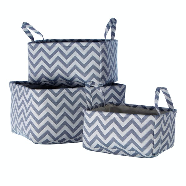 Set of 3 navy chevron fabric storage baskets