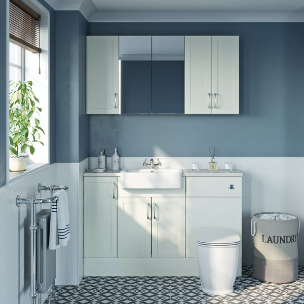 The Bath Co. Newbury white small fitted furniture & storage combination with white worktop