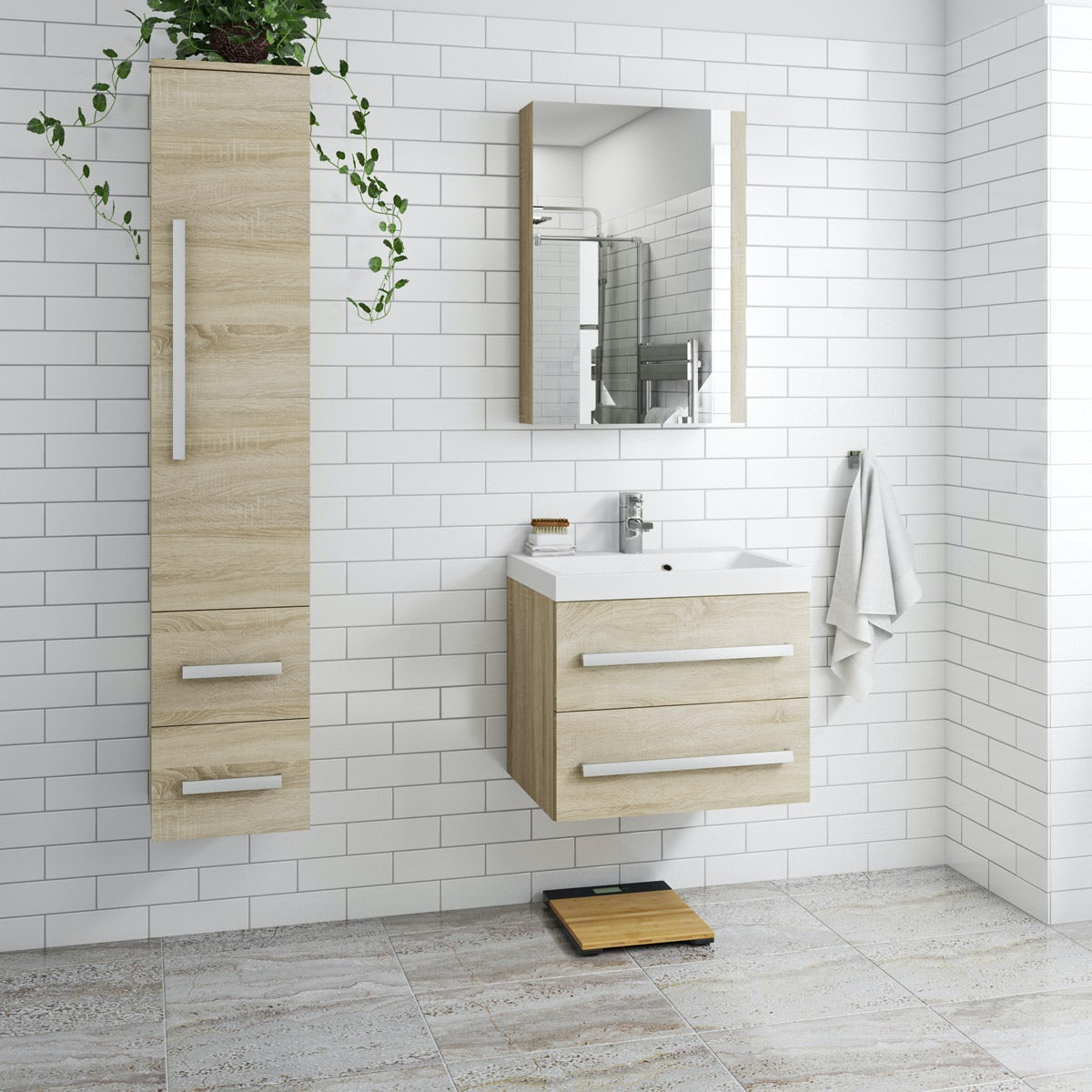 Orchard Wye Oak Furniture Package With Wall Hung Vanity