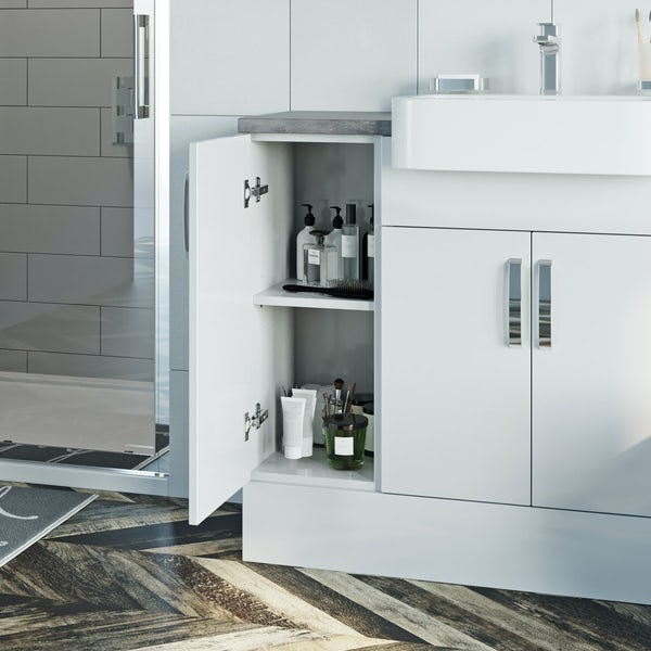 Reeves Nouvel gloss white small fitted furniture & mirror combination with pebble grey worktop