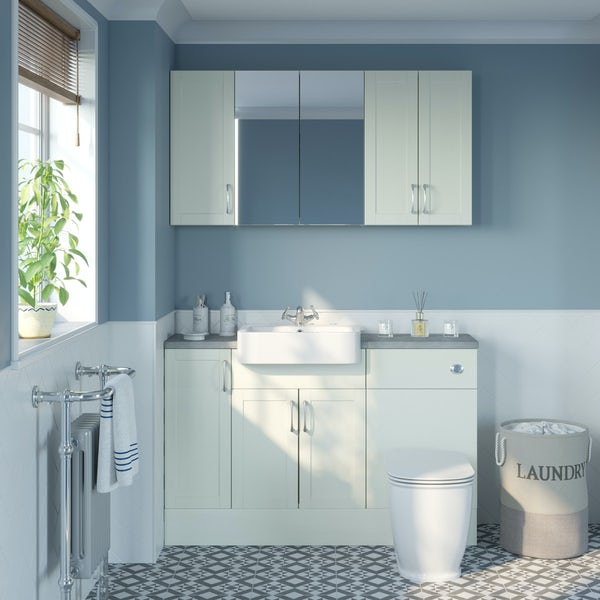 The Bath Co. Newbury white small fitted furniture & storage combination with pebble grey worktop