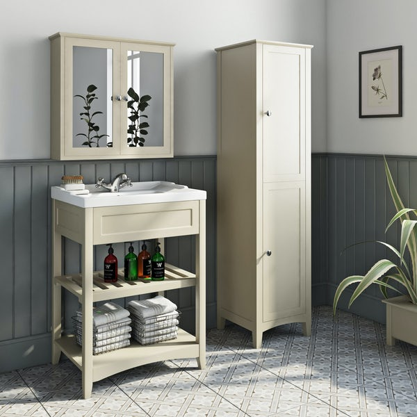 The Bath Co. Camberley satin ivory furniture package with tall storage unit