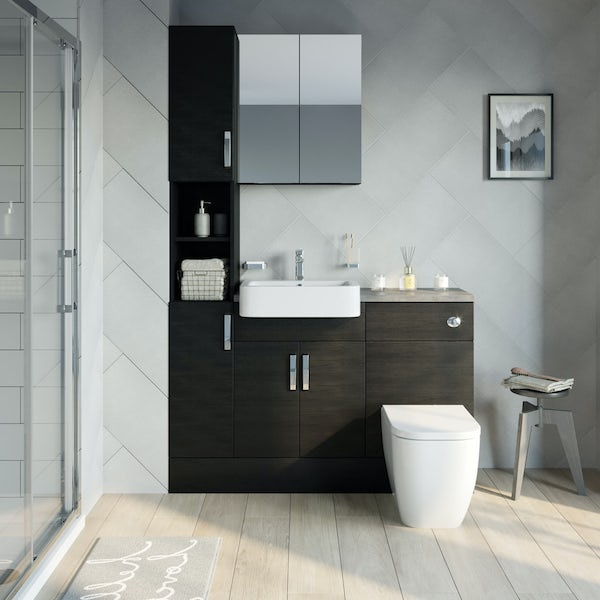 Reeves Nouvel quadro black tall fitted furniture & mirror combination with mineral grey worktop