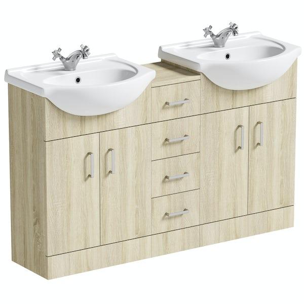 Orchard Eden oak double basin & multi drawer combination
