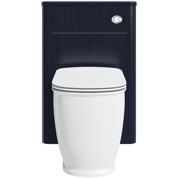 The Bath Co. Beaumont sapphire blue back to wall unit and toilet with seat