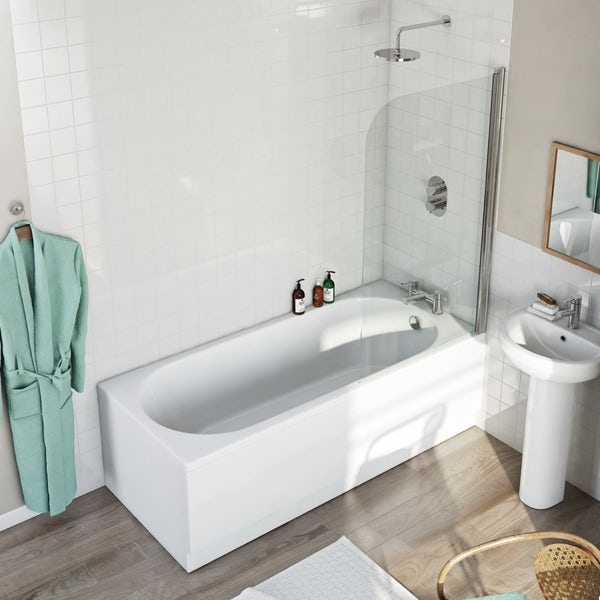 Orchard Round Edge Straight Shower Bath With 6mm Shower