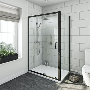 Mode Tate black 6mm sliding shower enclosure 1200 x 800