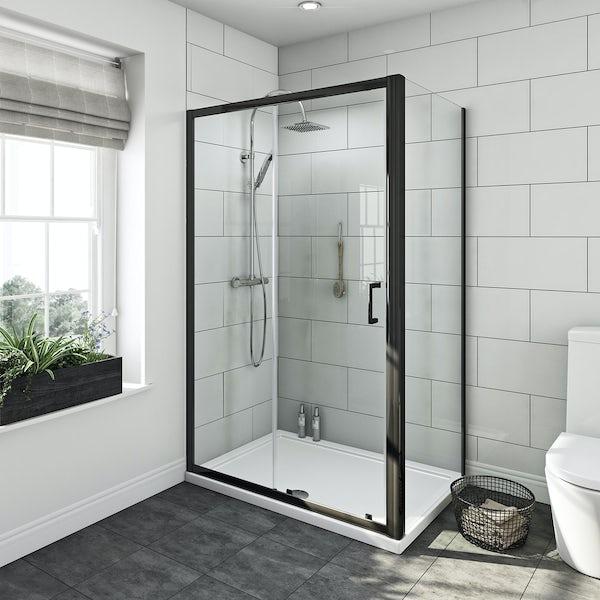 6mm black sliding shower enclosure 1200 x 800