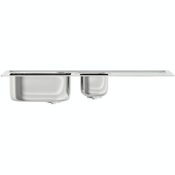 Leisure Euroline reversible stainless steel 1.5 bowl kitchen sink and Schon Burgh tap