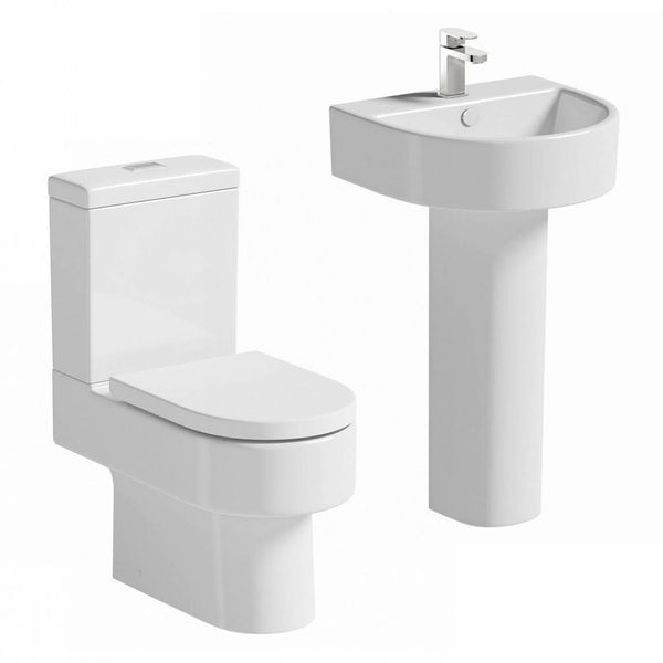 Orchard Dee cloakroom suite with full pedestal basin 510mm