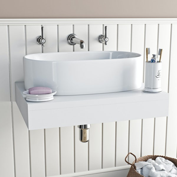 The Bath Co. Camberley lever wall mounted basin mixer tap