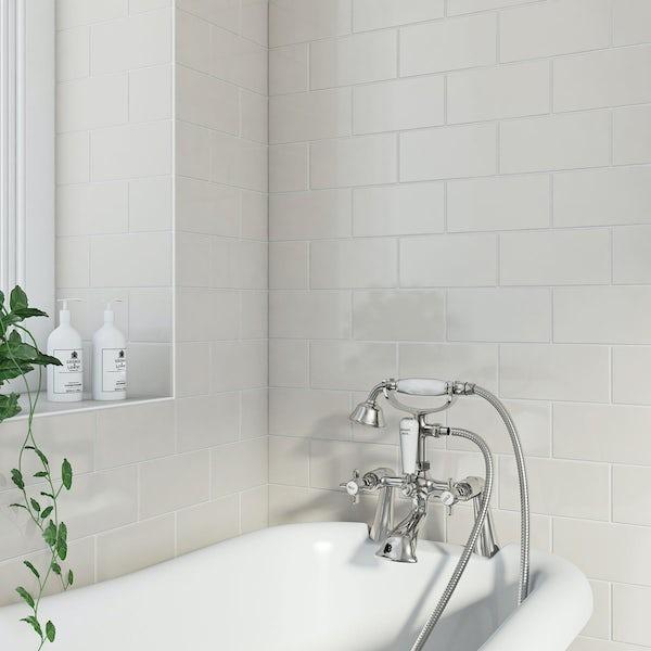 Flat gloss cream brick tile 100mm x 200mm
