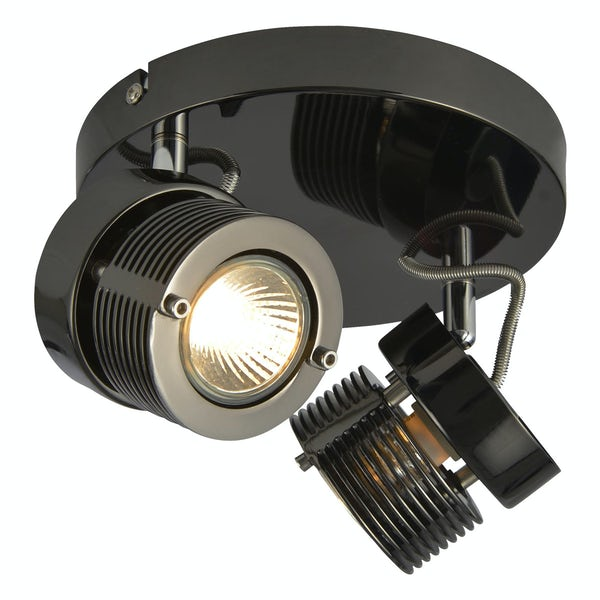 Forum Perseus black chrome 2 light kitchen ceiling light