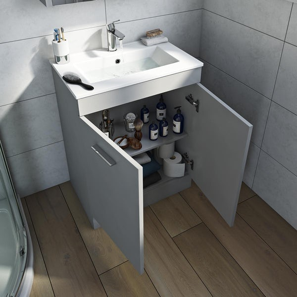 Orchard Odessa gloss grey floorstanding vanity unit and ceramic basin 600mm