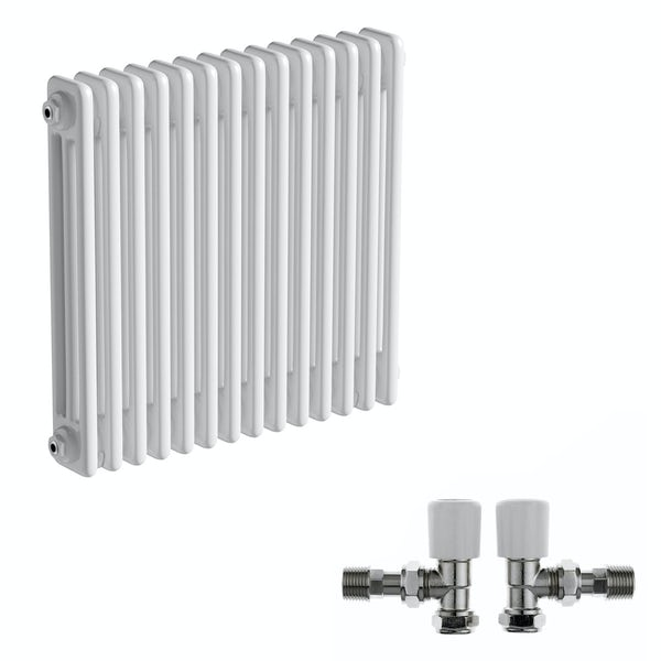 The Bath Co. Camberley white 3 column radiator 600 x 654 with angled valves