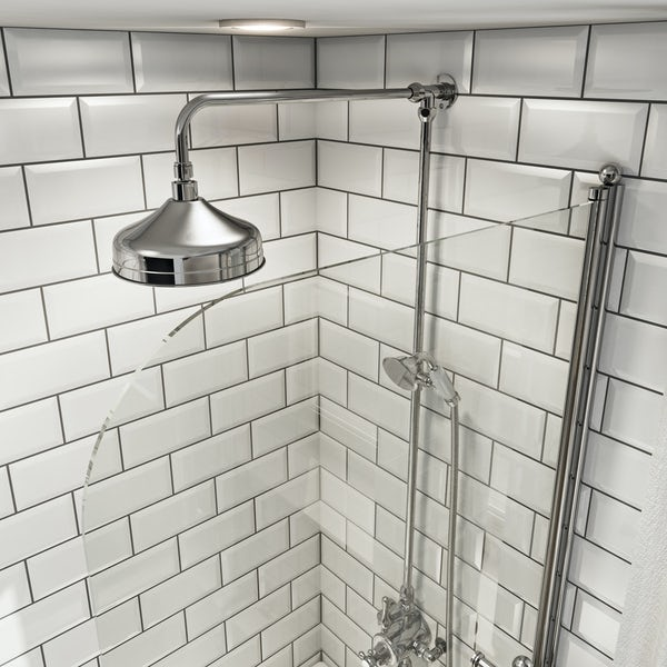 The Bath Co. Winchester 6mm traditional hinged shower bath screen with rail