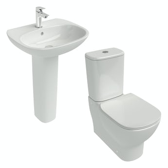 Ideal Standard Tesi cloakroom suite with full pedestal basin