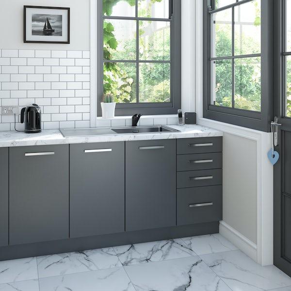 Clarity matt black single lever kitchen sink mixer tap with swivel spout