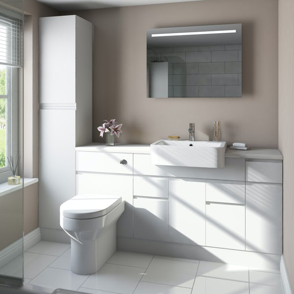 Orchard Wharfe white straight medium storage fitted furniture pack with white worktop