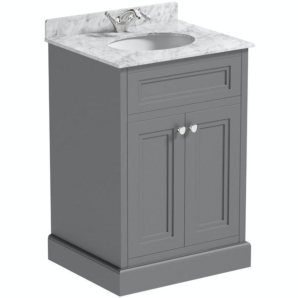 Slate Grey Bathroom Cabinets: The Bath Co. Chartham Slate Grey Vanity Unit And White