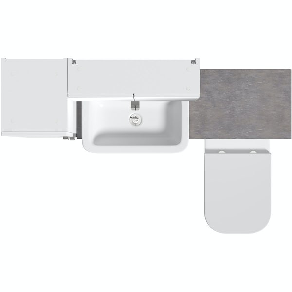 Mode Nouvel gloss white tall fitted furniture & mirror combination with mineral grey worktop