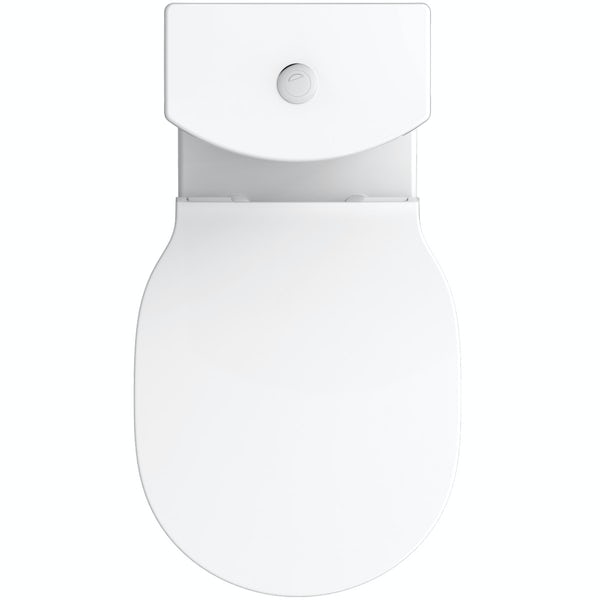 Ideal Standard Concept Air wood light grey vanity unit with open back close coupled toilet