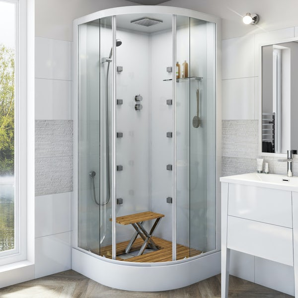 Mode quadrant white glass backed hydro massage shower cabin with wood effect floor and seat 900 x 900