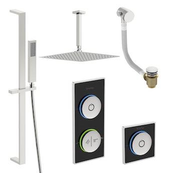 SmarTap black smart shower system with complete square ceiling shower bath set